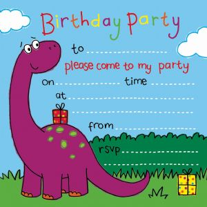 Dinosaur Children's Party Invitation.